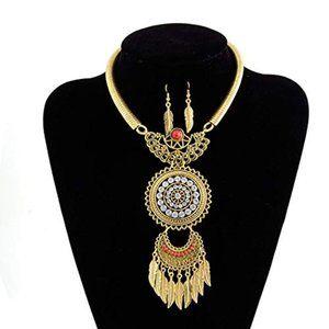 Jewelry - Boho Gold Tone Fashion Necklace Earring Set NWT